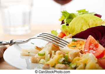 신선한, , , , , 달걀, , , 녹색, , 갈색의, 포크, 봄, 노른자위, 음식, , , 신선한,...