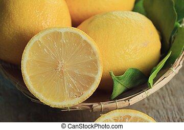 신선한, 레몬, 와, 잎