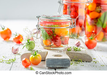 신선한, 성분, 치고는, 판에 박힌, 빨간 토마토, 에서, 여름