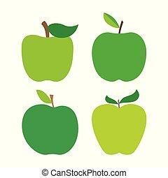 신선한, 세트, 익지 않은 사과, 은 잎이 난다