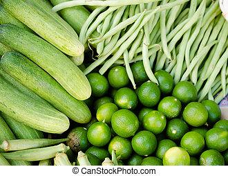 신선한 야채, 녹색, 아시아 사람 시장