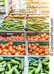 신선한 야채, 매점, 시장