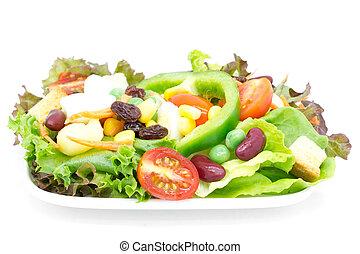 신선한 야채, 샐러드, 고립된, 백색 위에서