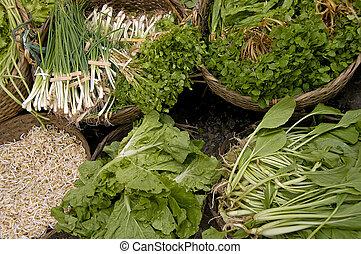 신선한 야채, 시장, 라오스