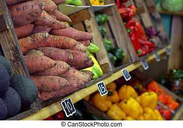 신선한 야채, 전시, 시장, 농부