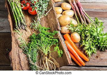 신선한 야채, 짖는 소리, 농부