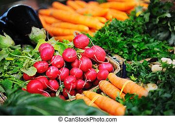신선한, 유기체의, 야채, 음식, 통하고 있는, 시장