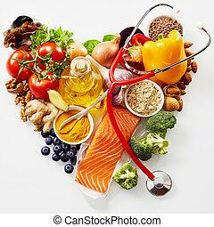 신선한 음식, 치고는, a, 건강한 심혼, 개념