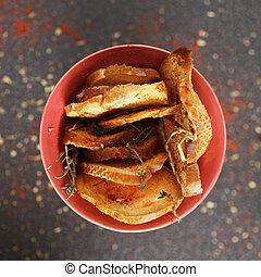신선한, 전반적인, 건배되는, bread