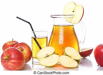 신선한, 추위, 사과 과즙