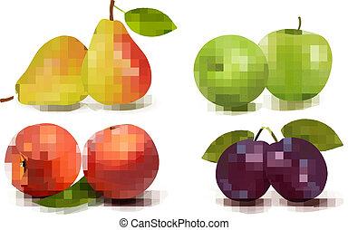 신선한, fruit., 벡터, 세트