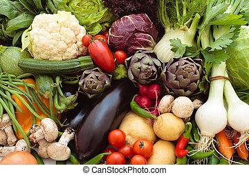 신선한, vegetables.