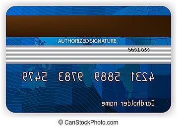 신용 카드, 밀려서, 보기., eps, 8