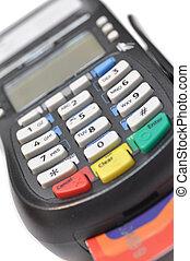 신용 카드 읽개, 고립된, 향하여, 백색 배경