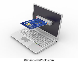 신용, 휴대용 퍼스널 컴퓨터, e-commerce., card.