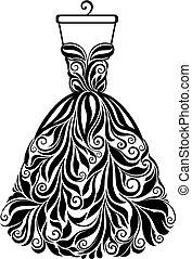 실루엣, 고립된, 밀려서, 벡터, 꽃의 드레스