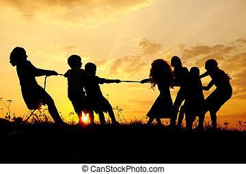 실루엣, 그룹, 의, 행복하다, 아이들 놀, 통하고 있는, 목초지, 일몰, 하계