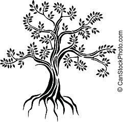 실루엣, 나무, 고립된, 검정