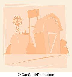실루엣, 농장, 와, 집, 농지, 시골, 조경술을 써서 녹화하다