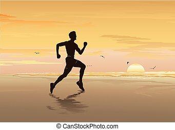 실루엣, 의, 사람 달리기, 바닷가에, 적당, 소년, 걷기, 조깅, &, 운동, -, 벡터, 삽화