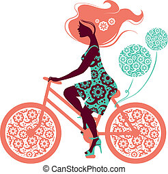 실루엣, 의, 아름다운, 소녀, 통하고 있는, 자전거