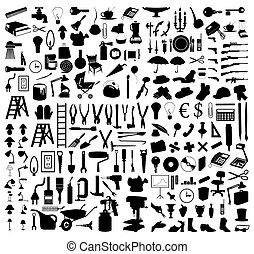 실루엣, 의, 여러 가지이다, 주제, 와..., tools., a, 벡터, 삽화