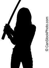실루엣, 의, 여자, 와, 사무라이 검