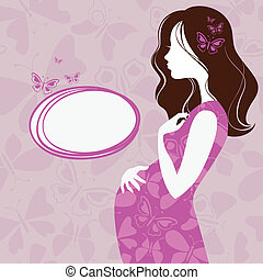 실루엣, 의, 임신부