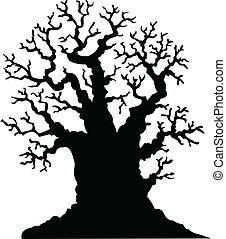 실루엣, 의, 잎이 없다, 오크 나무