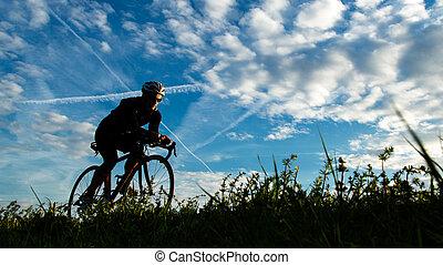 실루엣, 의, 자전거 타는 사람