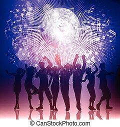 실루엣, 의, 파티, 사람, 통하고 있는, a, 음악 노트, 배경