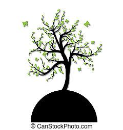 실루엣, 의, a, 나무, 와, 녹색의 잎