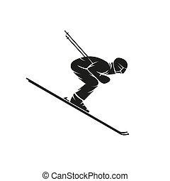 실루엣, 의, a, skier, 내리막길의, 통하고 있는, 그만큼, 스키, 아래로의, a, 험한 언덕, 극단, slalom, 겨울의 스포츠, 로고, 티셔츠, 인쇄, 상징, mockup