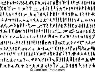 실루엣, 인간, 수백 사람들