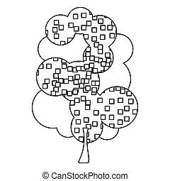 실루엣, 잎이 많은 나무, 와, 픽셀, 사각형