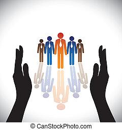 실루엣, concept-, 회사, secure(protect), 손, 직원, 단체의, 또는, 행정관