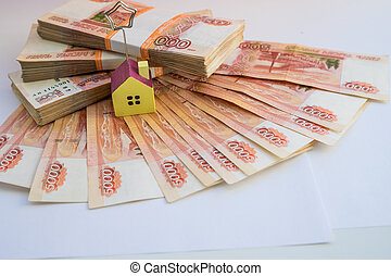 실상의, 개념, 재산, 축소형, 개념, 돈, 대부, 저당, house.saving, rubles, 더미, 집, 러시아어, 건설되는 집, 층계, 또는