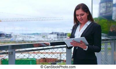 실상의, market., 재정, 은행업의, 사무실, 여자 실업가, 현대의 직업, 자부하는, 법인, 재산,...