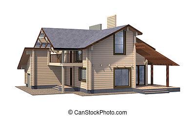 실상의, timber., 재산, 페인트, 멍청한, 주거다, 집, 배경., 격리, 백색, render.,...