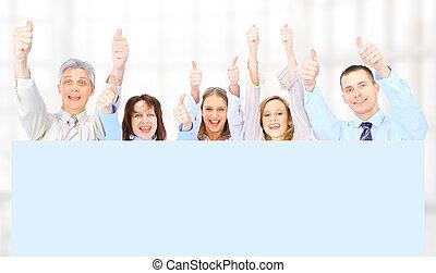 실업가의 그룹, 보유, a, 기치, 광고, 고립된, 백색 위에서