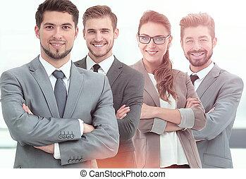 실업가의 그룹, 에서, 자형의 것, 사무실