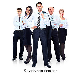 실업가의 그룹, 에서, a, 하얀 셔츠, 고립된, 백색 위에서, 배경