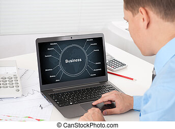 실업가, 개념, laptop., 사업 전략