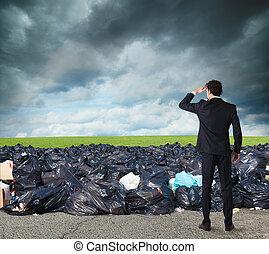 실업가, 검색, 멀리, 치고는, 날씬한, environment., 극복되는, 그만큼, 세계, 오염, 문제