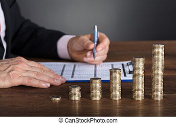실업가, 계산하는, 재정적인 보고