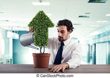 실업가, 그것, 해수욕장의, a, 식물, 와, a, 모양, 의, arrow., 개념, 의, 성장하는, 의, 회사, 경제, .