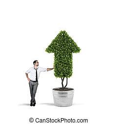 실업가, 그것, cultivates, a, 식물, 와, a, 모양, 의, arrow., 개념, 의, 성장하는, 의, 회사, 경제, .
