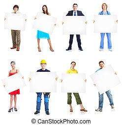 실업가, 그룹, 와, banner.
