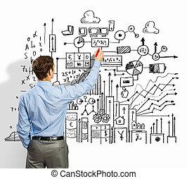 실업가, 그림, 밑그림, 통하고 있는, 벽
