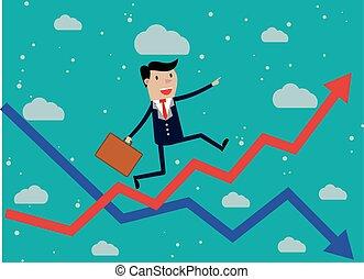 실업가 달리기, 빨강 화살, 그래프, 위로의